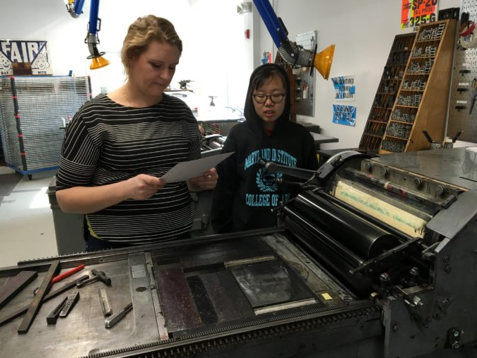 Allison Fisher Who Oversees The Letterpress Studio And Jaydu Xu A Junior Illustration Major Examine Of Proof In
