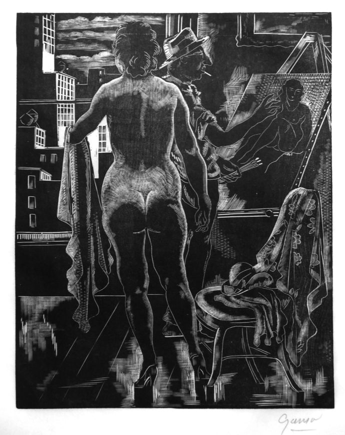 """The purchase of Self-Portrait with Nude, a woodcut by Emil Ganso (German-born American, 1895-1941), was also influenced by owning a book–in this case """"The ..."""