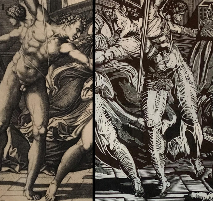 The Raimondi sword-wielding male nude (left) compared to the Avery version (right). (Image by Scott Ponemone)