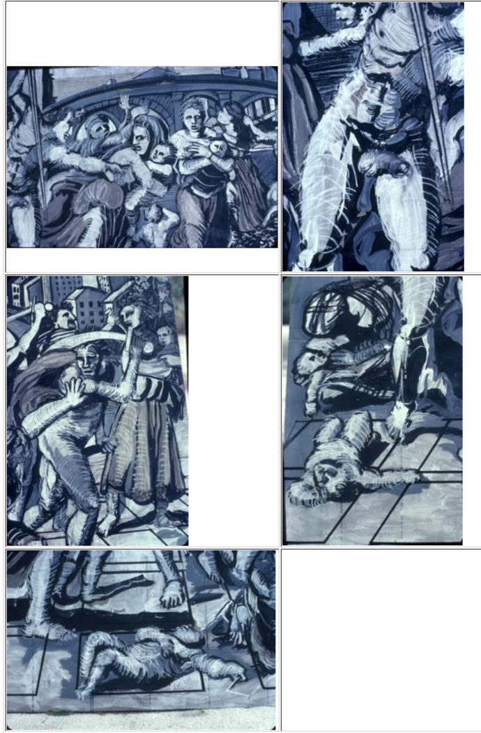 """Details of Avery's gouache for """"Massacre"""" as shown on his website DocArt.com (Courtesy of Eric Avery)"""