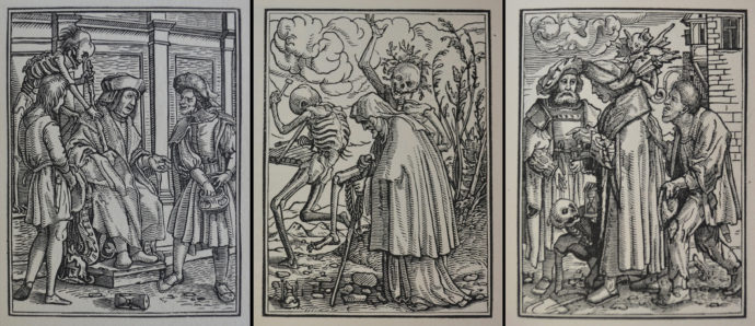 """Three wood engraved plates from Francis Douce, """"The Dance of Death,"""" William Pickering, London, 1831. From left: The Judge, The Old Woman, The Magistrate."""